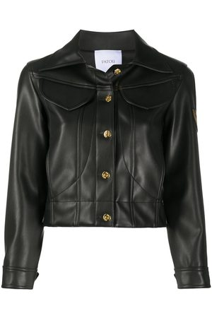 Patou Cropped leather-look jacket