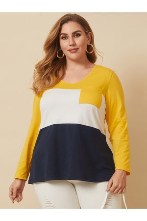 YOINS Plus Size V-neck Patchwork Long Sleeves Tee