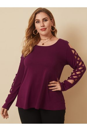 YOINS Plus Size Round Neck Criss-cross Long Sleeves Tee