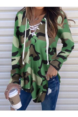 YOINS Army Green Camo Lace-up Design V-neck Long Sleeves Tee