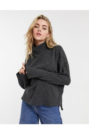 Noisy May Roll neck jumper with seam detail in dark