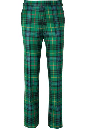 KINGSMAN Slim-Fit Checked Wool-Flannel Trousers