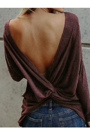 YOINS Backless Design Twist Round Neck Long Sleeves Tee