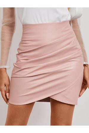 YOINS Women Leather Skirts - Pink Wrap Design Faux Leather Skirt