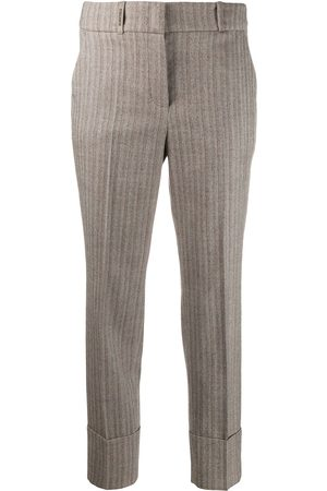 PESERICO SIGN Striped cropped trousers