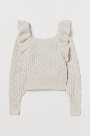 H&M Cable-knit flounced jumper