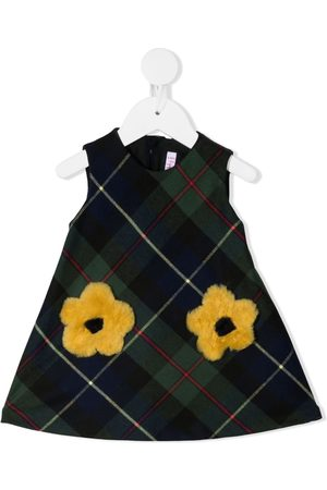 Il gufo Baby Printed Dresses - Embroidered floral checked dress