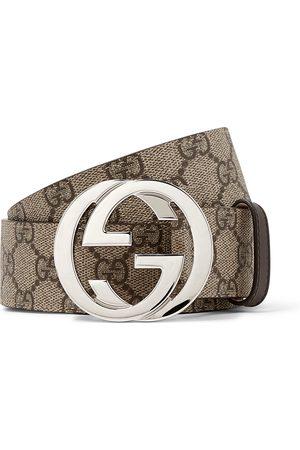 GUCCI 4cm Leather-Trimmed Monogrammed Coated-Canvas Belt