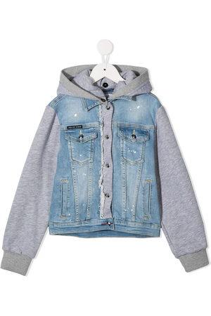 Philipp Plein Girls Denim Jackets - Rear teddy bear denim jacket