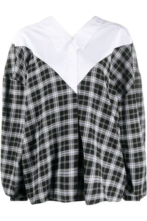 Unravel Project Oversized v-neck check shirt