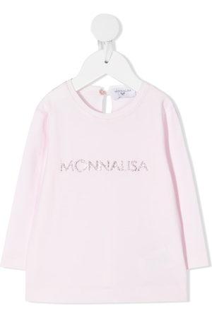 MONNALISA Rhinestone logo long-sleeved T-shirt