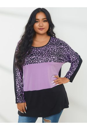 YOINS Plus Size Patchwork Leopard Long Sleeves Tee
