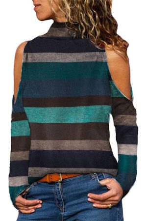 YOINS Blue Striped Cold Shoulder Long Sleeves Tee