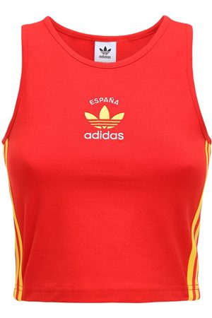 adidas 3-s Italy Stretch Cotton Crop Tank Top