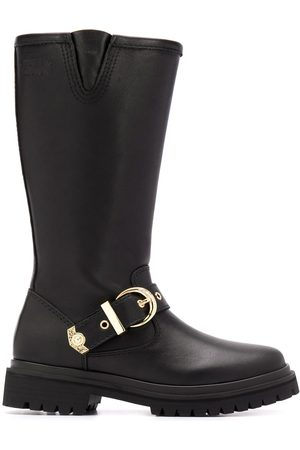 VERSACE Mid-calf buckle strap boots