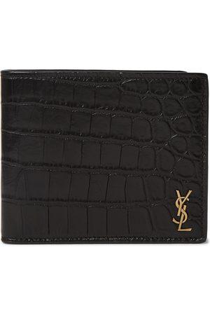 Saint Laurent Men Wallets - Logo-Appliquéd Croc-Effect Leather Billfold Wallet