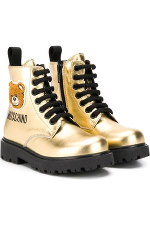 Moschino Girls Ankle Boots - Teddy bear patch metallic boots