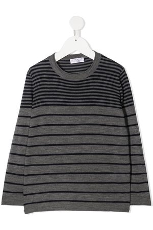 Brunello Cucinelli Boys Jumpers - Striped knit jumper