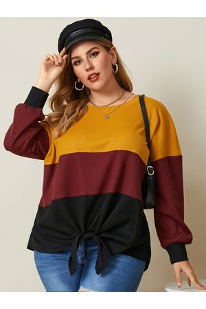 YOINS Plus Size Crew Neck Patchwork Waffle Knit Long Sleeves Knitwear