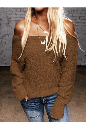 YOINS Off the shoulder Faux Fur Long sleeves Sweater