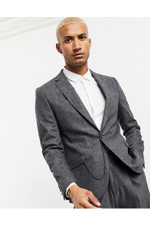 Shelby & Sons Slim suit jacket in tweed with pocket chain