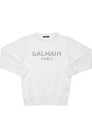 Balmain Embroidered Logo Cotton Sweatshirt