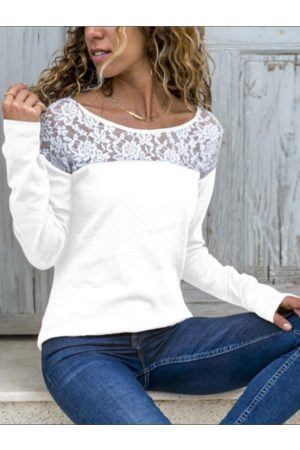 YOINS White Lace Patchwork Round Neck Long Sleeves Tee