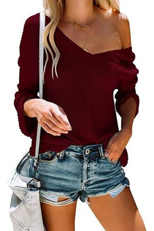 YOINS Casual V-neck One Shoulder Long Sleeves Knit Top
