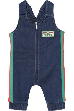 Gucci Baby stretch-denim playsuit