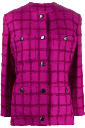 Yves Saint Laurent 2000s checked collarless jacket
