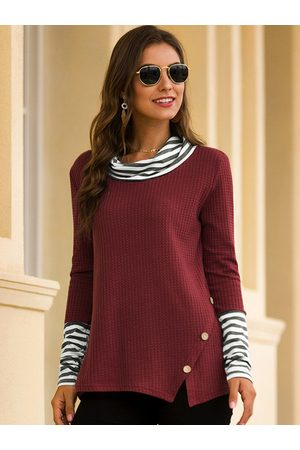 YOINS Button Design Patchwork Round Neck Long Sleeves Knit Top