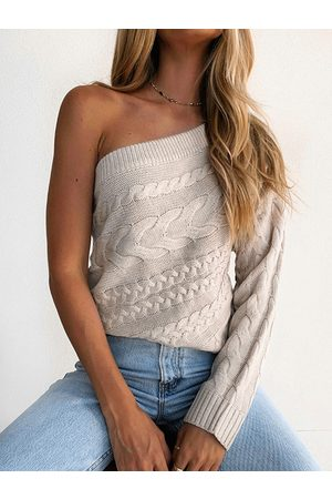 YOINS Cable Knit One Shoulder Long Sleeves Sweater
