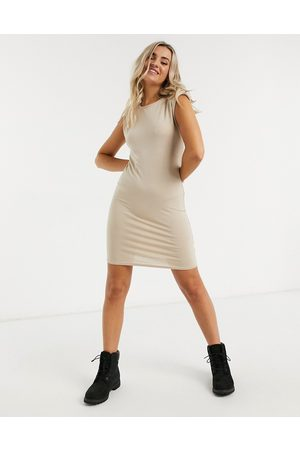 New Look Shoulder pad tshirt dress in stone