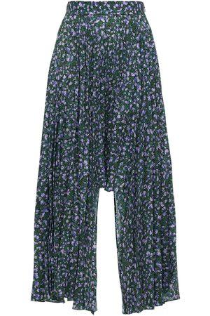 Rokh Asymmetrical Pleated Floral Print Skirt