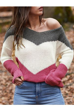 YOINS Color Block V-neck Long Sleeves Sweater