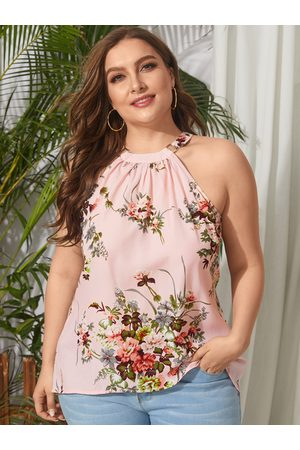 YOINS Plus Size Backless Design Floral Print Halter Sleeveless Cami