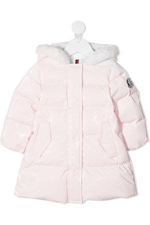 Moncler Coats - Faux-fur trimmed down coat