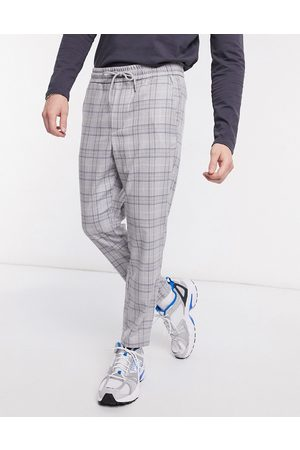 Only & Sons Check tapered trouser with drawstring waist in light