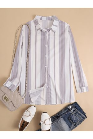 YOINS Striped Button Design Classic Collar Long Sleeves Blouse