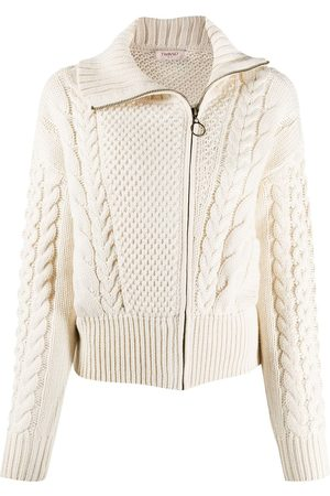 Twin-Set Cable knit zipped cardigan