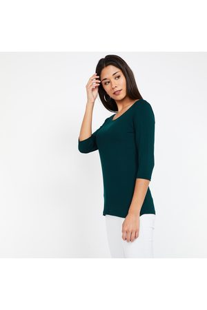Code Solid Round Neck Three-quarter Sleeves T-shirt
