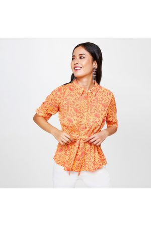 Global Desi Women Floral Print Tie-Up Waist Shirt