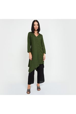 Global Desi Women Solid Tunic with Asymmetrical Hemline