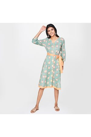 Global Desi Women Floral Print Three-quarter Sleeves A-line Dress