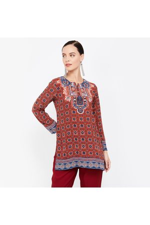 Biba Printed Kurti with Notched Neck