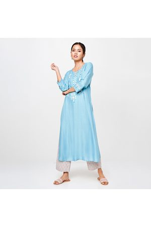 Global Desi Women Embroidered Three-Quarter Sleeves Kurta
