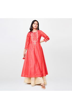 Global Desi Women Embroidered Flared Kurta