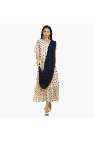 INDYA Printed A-line Tunic with Attached Dupatta
