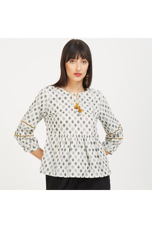 Global Desi Printed Tie-Up Neck Top