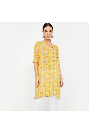 Global Desi Roll-Up Sleeves Printed Straight Kurti